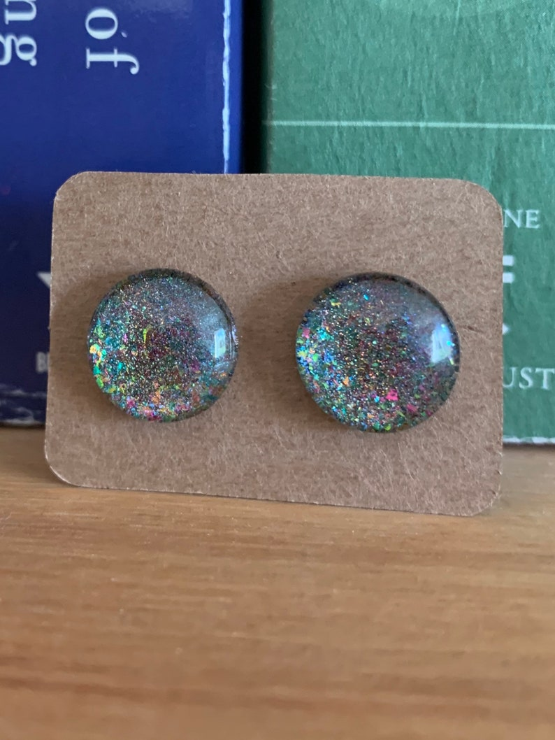 Glass Stud Earrings Rainbow Flakey Holographic Cabochon Handmade with Indie Polish