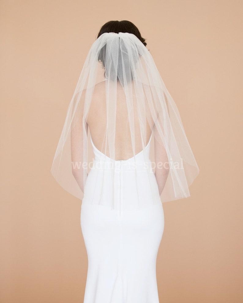 NEW BRIDAL 98/'/' Single Tier Ivory Off White Chapel Wedding Veil Satin Edge UK