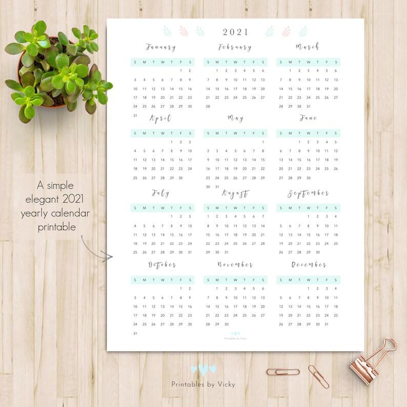 2021 Yearly Calendar Printable Portrait Calendar 2021 US ...