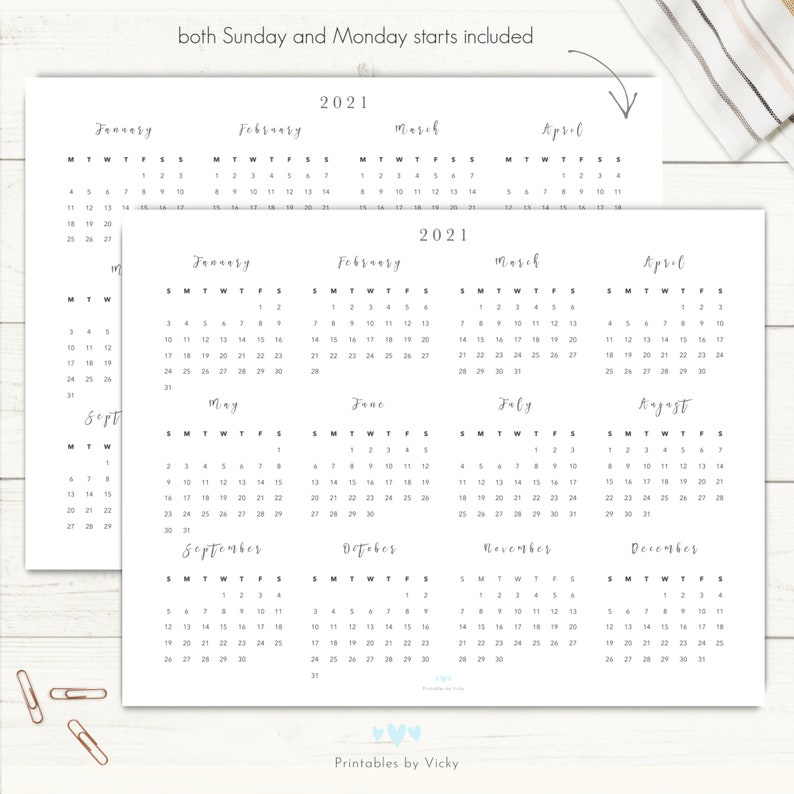2021 Yearly Calendar Printable Landscape Yearly Calendar ...