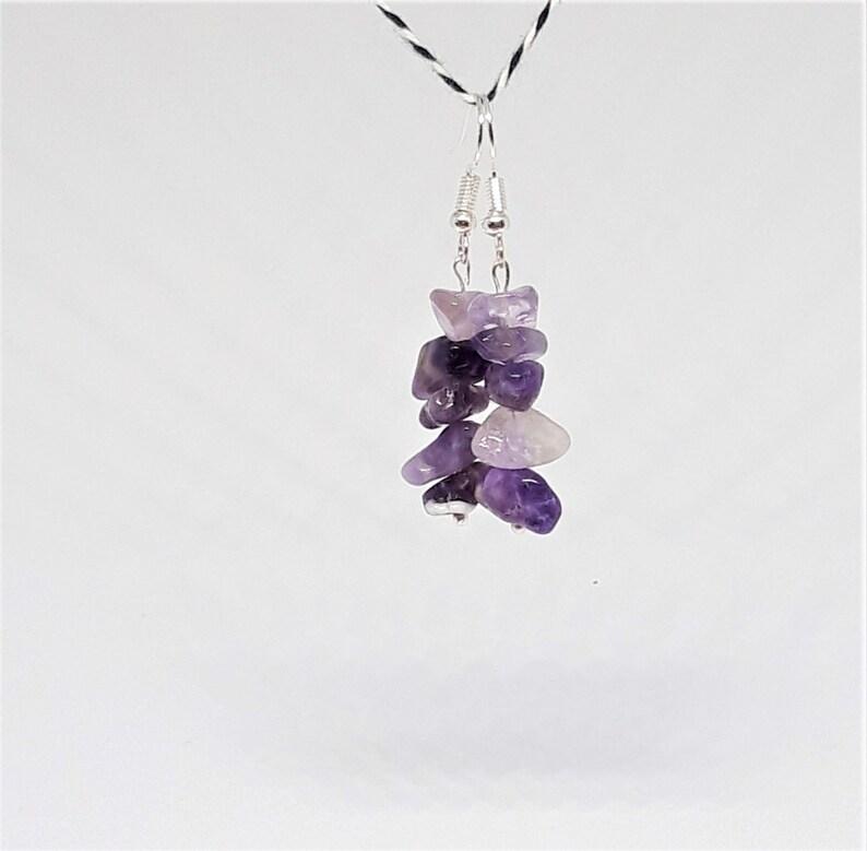 February Birthstone Amethyst Drop Earrings Purple Amethyst Balancing Stone Nature Jewellery Meditation Crystal Crown Chakra