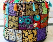 FreeShippin Indian Handmade Ottoman Pouf Stool Round Seating Cover Furniture Storage Living Room Foot Stool Decor handmade Patchwork Cover
