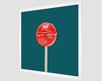 Lollipop Art | Teal and Red | Fine Art Print | Square