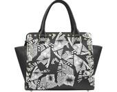 Black and white raw Combat Handbag Graphic Handbag Skull Design Purse Shoulder Bag One of a Kind Purse
