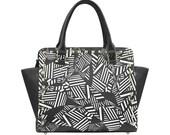 Black and white lines Combat Handbag Graphic Handbag Skull Design Purse Shoulder Bag One of a Kind Purse