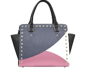 Triada color design Combat Handbag Graphic Handbag Skull Design Purse Shoulder Bag One of a Kind Purse