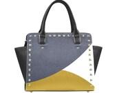 Triada color yellow design Combat Handbag Graphic Handbag Skull Design Purse Shoulder Bag One of a Kind Purse