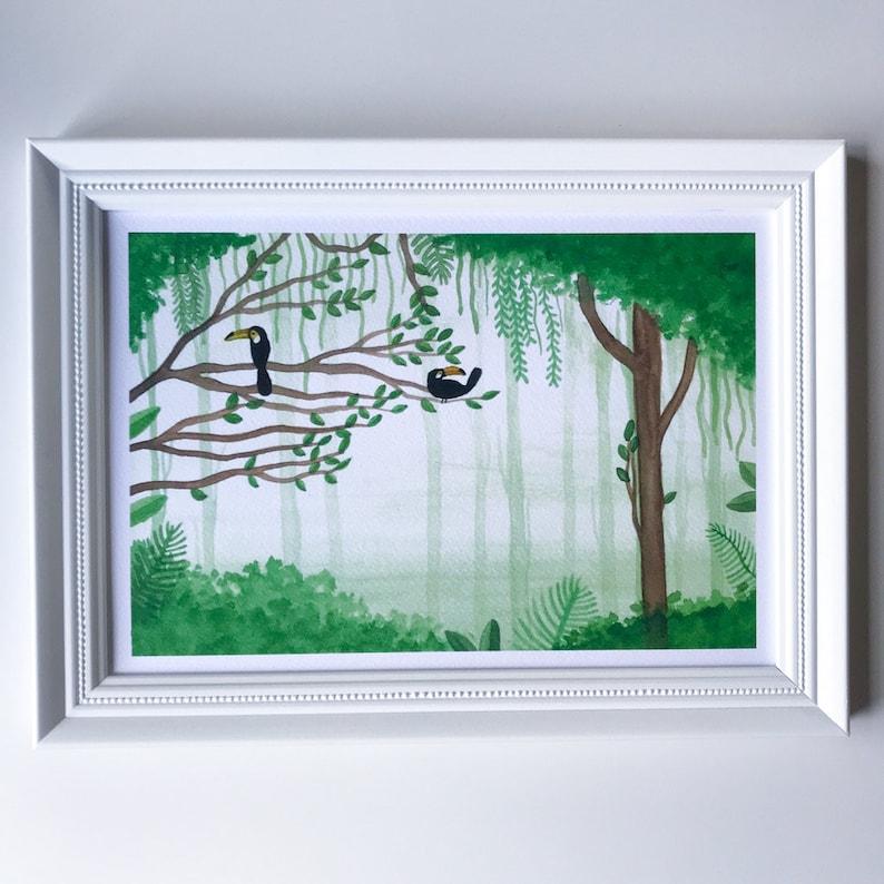 Tropical Toucan Watercolor Jungle