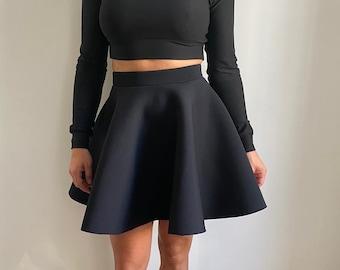 Black skater skirt in Neoprene