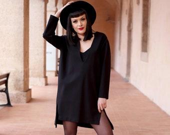 Black plunging Noëlle dress