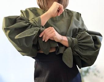 Oversize blouse LA PAPESSE sleeve balloon khaki