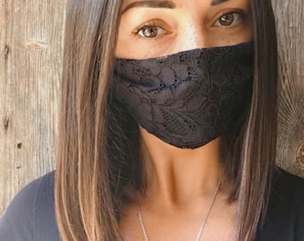 mask hides mouth in black lace lined