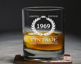 bd6753a2b47 50th Birthday Gift for Man - Engraved - 50th Birthday Glass - Birthday Gift  - Birthday Whiskey Glass - 1969 Birthday - Father Birthday Gift