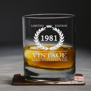 Personalised Engraved Whiskey Glass Aged To Perfection 40th Birthday Gift