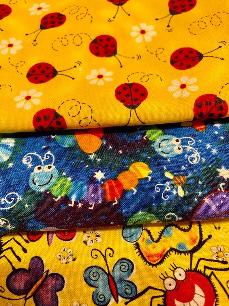 Three pack Burp cloths ~ cute bug print cotton burp cloths~ bug burp cloth set ~blue and yellow burp cloths
