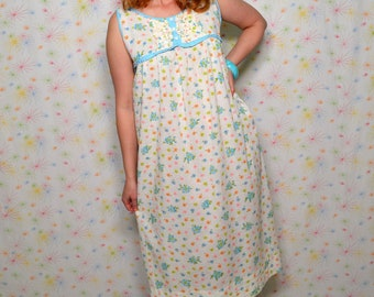 9769392cfbe 60s Blue Floral Nightgown, Vintage Greencraft Sleepwear, 1960s Long Cotton  Nighgown, Sleeveless