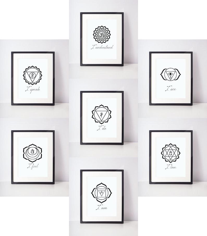 Printable Art Set Of 7 Chakra Prints 35 Files Printable Art Instant Download