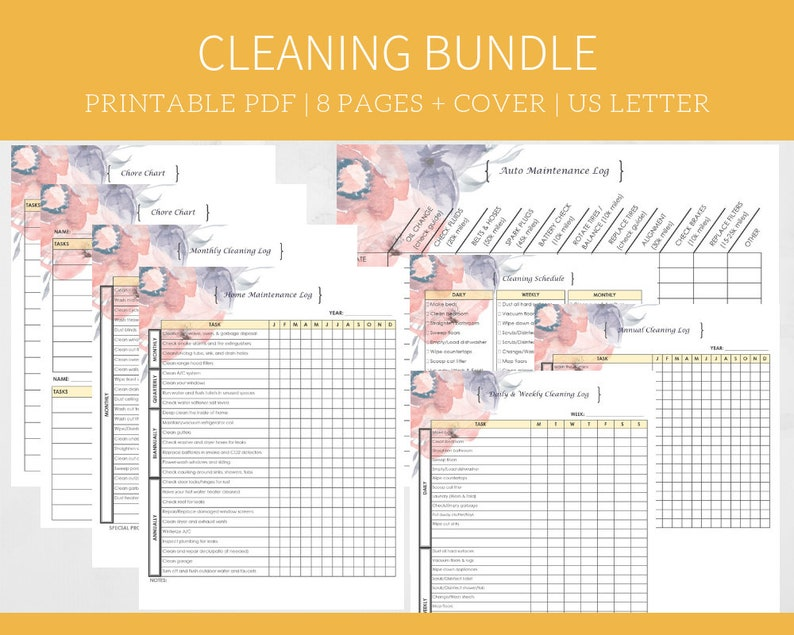 photograph regarding Printable Cleaning List known as Printable Cleansing Listing, Electronic Down load Planner Inserts, Weekly Regular monthly and Yearly Checklists, Chore Charts