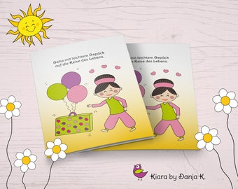 Kiara - Journey of Life - Funny Motivation and Mutmach Card in Comic Style, Folding Map A6