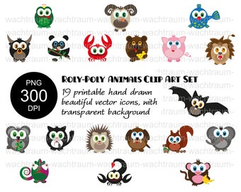 "Clipart Set ""Roly Poly Animals"" 19-piece, PNG, 300dpi transparent dog bat cat bull monkey koala panda lion frog bear fish hedgehog"