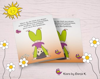 Kiara - Perspective and Perspective - Funny Motivation and Mutmach Card in Comic Style, Folding Map A6
