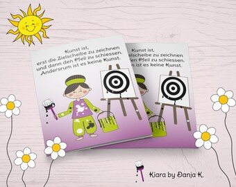 Kiara-Target and Arrow-Funny motivational and mutch Card in Comic Style, Wrong Card A6