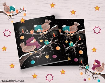 Christmas birdsong cute birds with cap on branch with snow A6 folding card incl. envelope