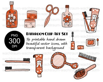 """Clipart Set """"In Bathroom"""" 14-piece, PNG, 300dpi, transparent background, brush, toothpaste, toothbrush, comb, cream, mirror, mascara"""
