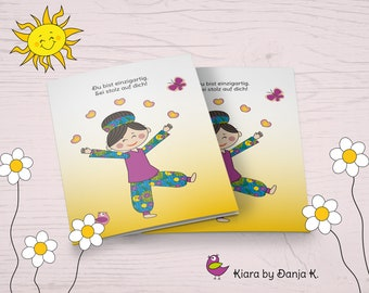 Kiara - You Are Unique - Funny Motivation and Mutmach Card in Comic Style, Folding Card A6