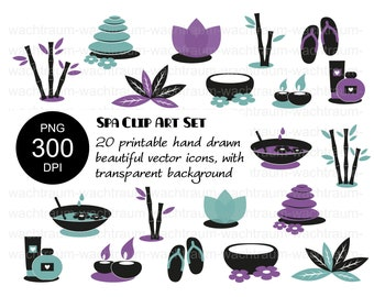 """Clipart Set """"Wellness and Spa"""" 20-piece PNG 300dpi Bamboo Lotus Blossom Flip-flops Ointments Creams Creams Stones Candles, 2-color"""