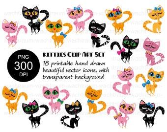 "Clipart Set ""Sweet Kitties"" 18-piece, cat, kitten, pink, yellow, black, PNG, 300dpi, transparent, printable"