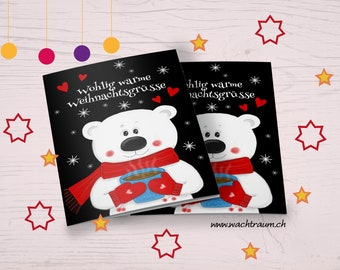 Pleasantly warm Christmas greetings cute polar bear with scarf and han shoes with hot cocoa with snowflakes A6 folding card incl. envelope