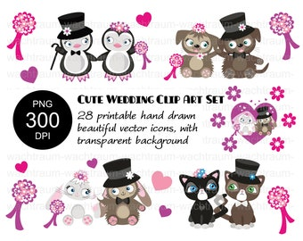"""Clipart Set """"Animal Wedding"""" 28-piece, PNG, 300dpi, Wedding Couple Bunnies, Cats, Dogs, Penguins, Marry, Hearts, Flowers, Pink"""