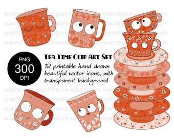 """Clipart Set """"Funny Tea + Coffee Cups"""" 12-piece PNG 300dpi transparent printbar cups plates dishes cups with face orange saucer"""