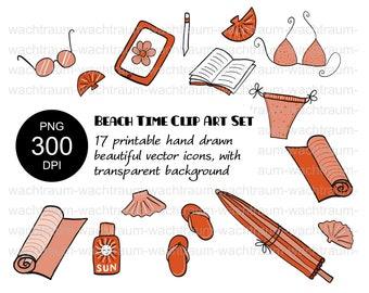 "Clipart Set ""On The Beach"" 17-piece PNG 300dpi Transparent Sunscreen Book Umbrella Flip-flops Bikini Book Sunglasses Bath Towel Shell Tablet"