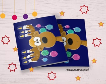Funny Christmas card with hand-drawn moose/reindeer with candles on the antlers and colorful balls, A6 folding card