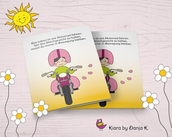 Kiara - Life is Like Riding a Motorcycle - Funny Motivation and Mutmach Card in Comic Style, Folding Map A6