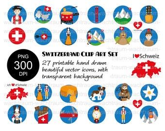 "Clipart Set ""Typical Switzerland"" 27-piece PNG 300dpi Cheese fondue Appenzeller Wilhelm Tell Sack Knife Schoggi Mountains Cheese Cowbell Watch Geiss Ski"