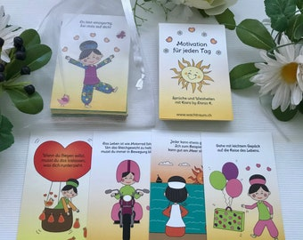 Kiara Motivation Card Set - 25 motivational mutmach cards in comic style with wisdoms, in organza bag, card size 84 x 55 mm