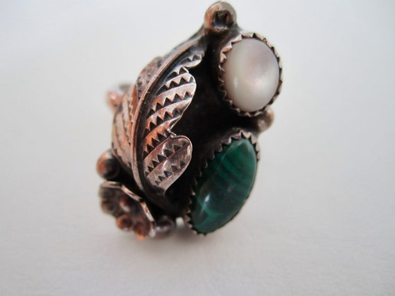 Vintage Silver and Malachite Ring - image 4