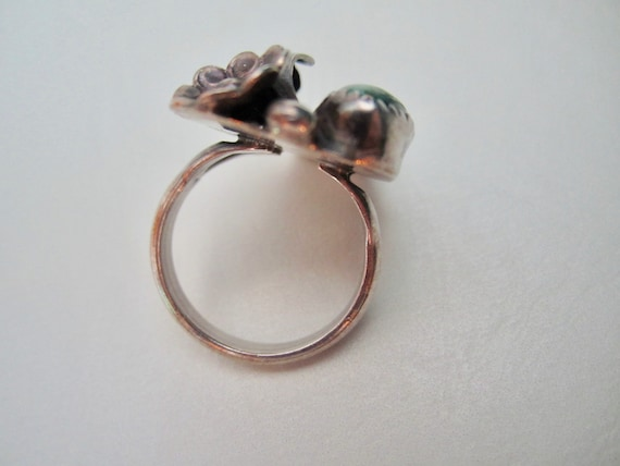 Vintage Silver and Malachite Ring - image 8