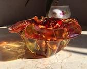Amber Color Glass Bowl - Vintage Seguso,Glass Ashtray ,Bohemian Venetian Art Glass,1970s