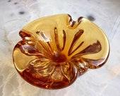 Amber Color Glass Bowl-Seguso,Glass Ashtray ,Chernobyl Style Venetian Art Glass,1970s,Home Decor