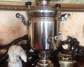 Vintage Coal Samovar - Soviet Nickeled Brass Samovar, 5 Liters USSR 1980 Russian Teapot