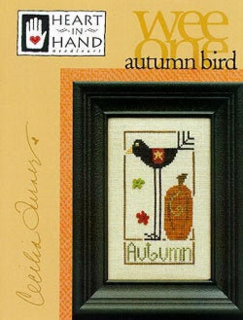 Autumn Bird Heart in Hand Cross Stitch Pattern