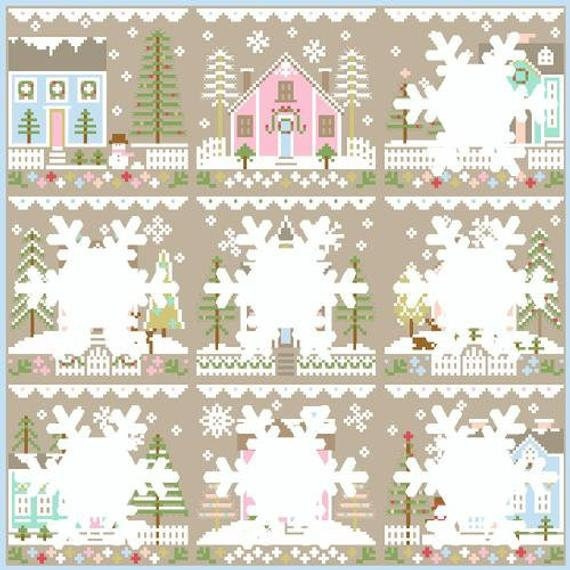 Glitter Village Series Country Cottage Needleworks GLITTER HOUSE 7 Cross Stitch Pattern