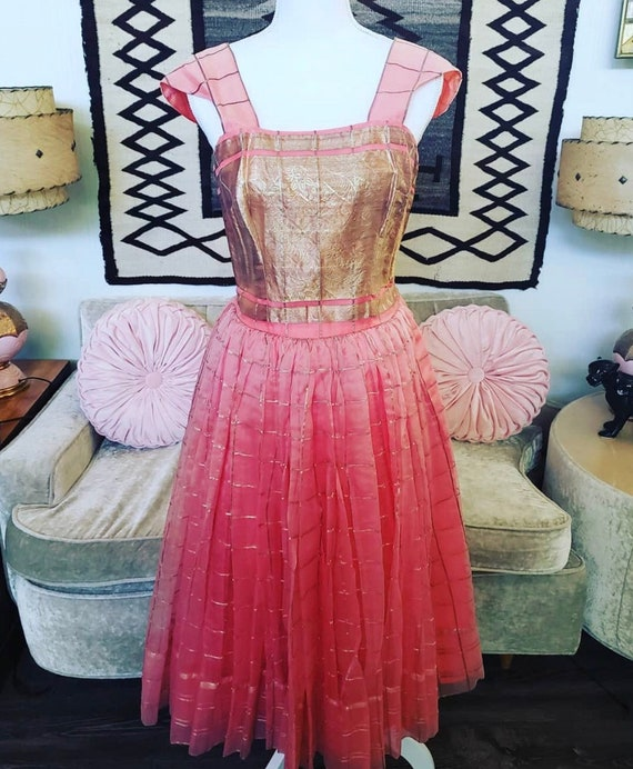 Vintage 1950s Coral Chiffon Gold Dress