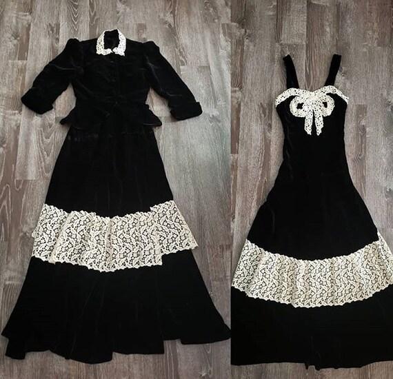1930s Black Velvet Cream Lace Gown Dress 4 piece s