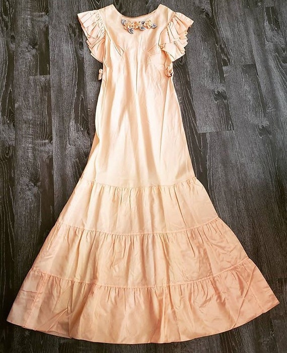 1930s Peach Floral Gown - image 2