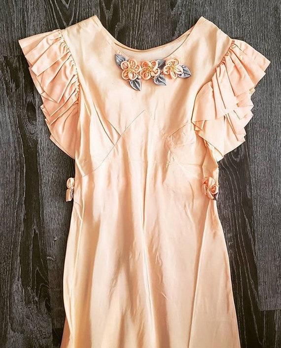 1930s Peach Floral Gown